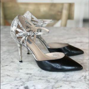 D'Orsay Heels | Snake and Black Leather Heels